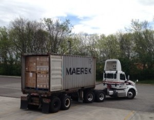 The full container leaves Knoxville on the journey to Guatemala.